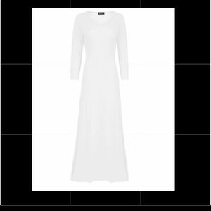 White Cotton Long Sleeve Long Length Dress